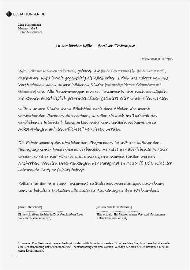 Berliner Testament Vorlage Kostenlos Erstaunlich Testament