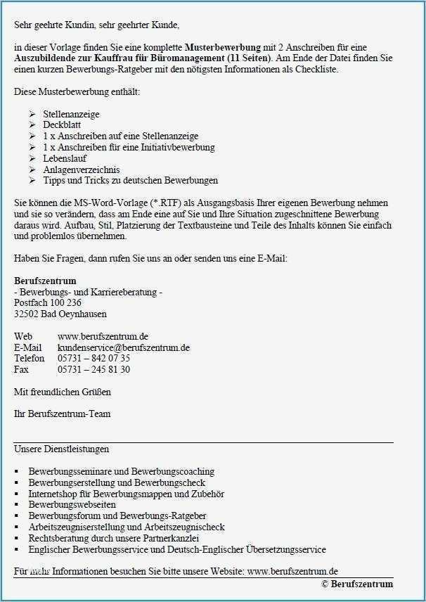 Bewerbung Für Kauffrau Für Büromanagement