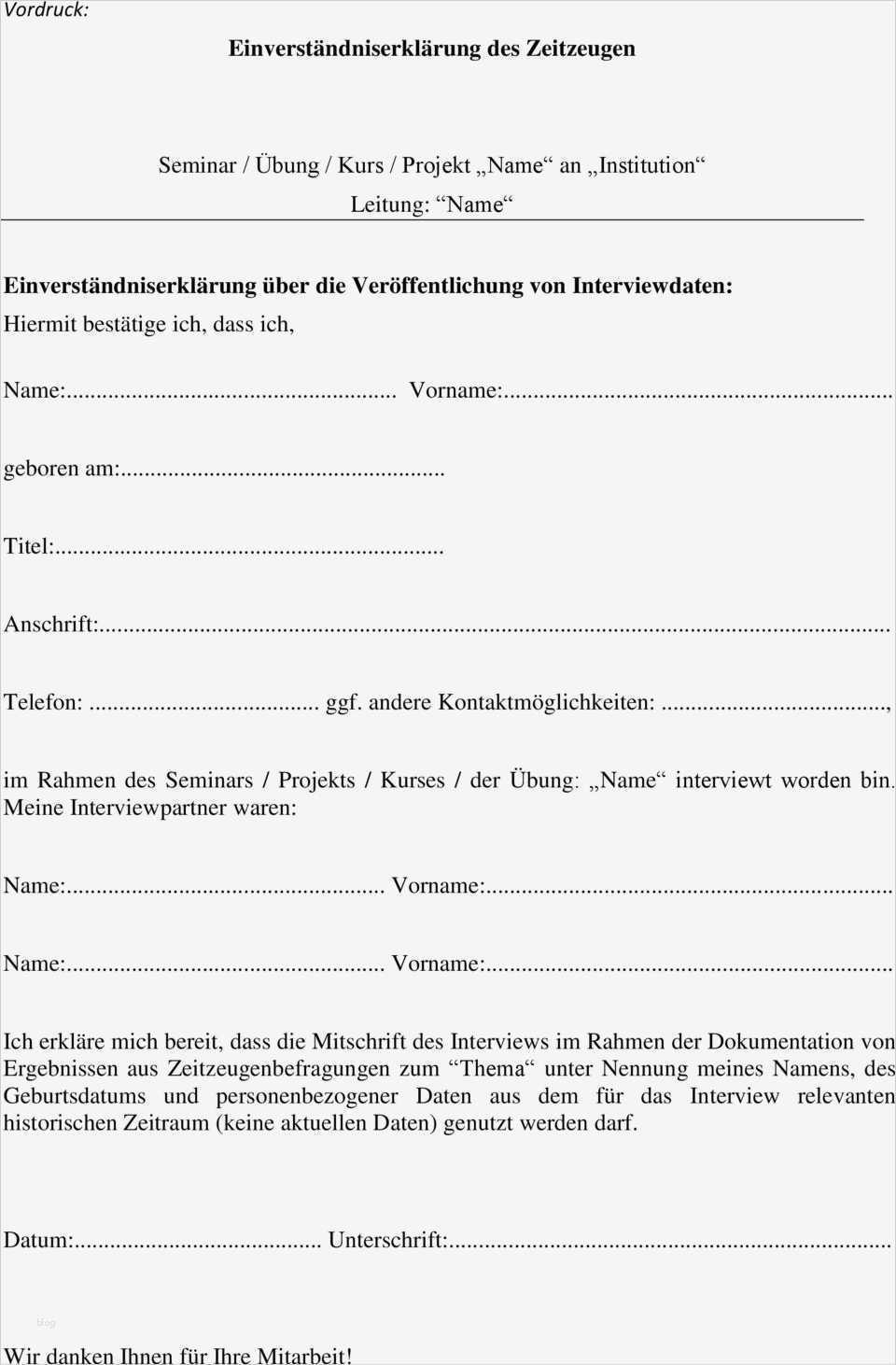 Interview Einwilligungserklärung