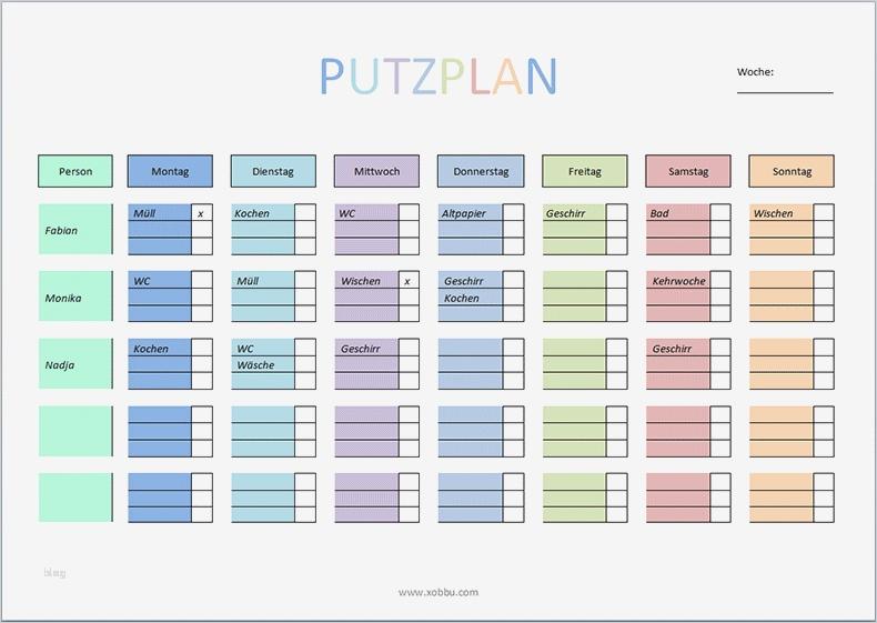 Vorlage Haushaltsplan Excel Gut Putzplan Vorlage Für